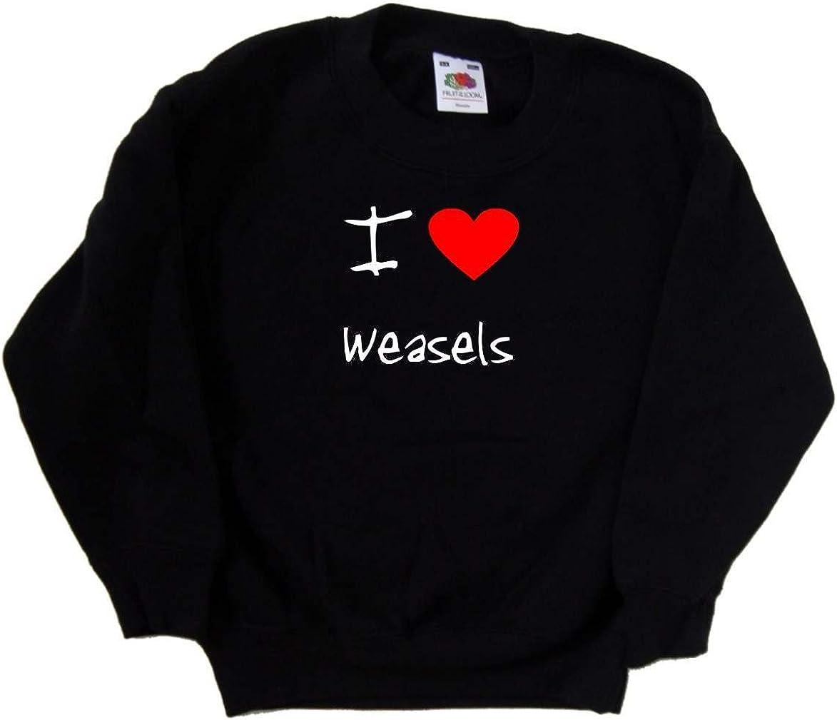 I Love Heart Weasels Black Kids Sweatshirt