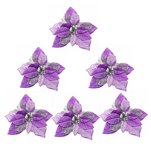 M2cbridge Pack of 6 Glitter Artificial Wedding Christmas Flowers Red Glitter Poinsettia Christmas Tree Ornaments Dia 9 Inch (Purple) ()
