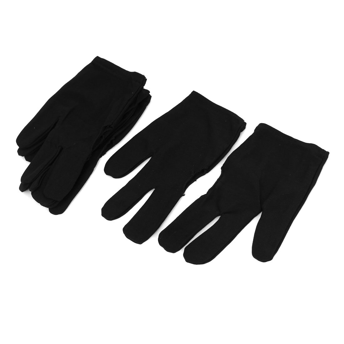 uxcellSport Billiard Pool Cue 3-Finger Elastic Gloves 3 Pairs Black a16020500ux0159