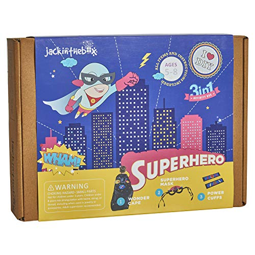 jackinthebox Superhero Themed Art and Craft Kit for Boys | 3 Activities-in-1 | Best Boy Gift for Ages 4 to 8 Years | Includes Beautiful Felt and Foam Embellishments (Superhero 3-in-1)