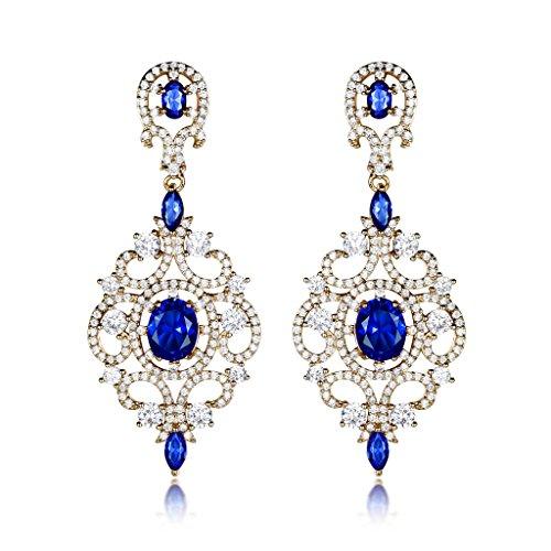 Blue Stone Chandelier - GULICX Long Sapphire Color Blue Zircon Crystal Chandelier Dangle Earrings Gold Tone