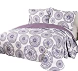 quilts king size purple - vivinna home textile Disperse Printing Purple Quilts King Size-3PCS Bedspread -Lightweight Hypoallergenic Microfiber