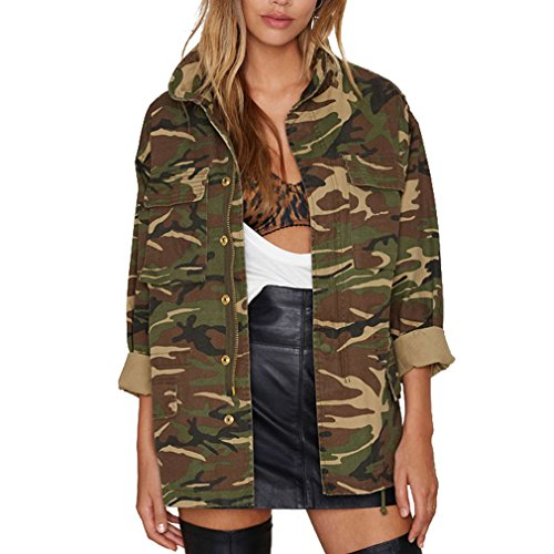 BININBOX® Damen Fashion Retro Stil Jacke Militärisch Tarnanzug Mantel Jacke  Für Frühling Und Herbst