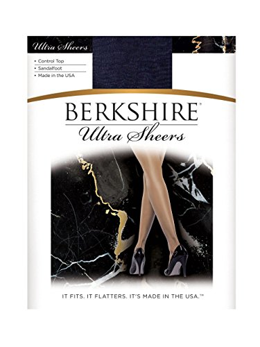 Berkshire Women's Ultra Sheer Control Top Sandalfoot Pantyhose 4415 , Navy , Size - Pantyhose Berkshire Stretch