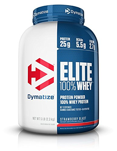 Dymatize Elite 100% Whey Protein Powder, Take Pre Workout or Post Workout, Quick Absorbing & Fast Digesting, Strawberry Blast, 5 Pound