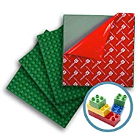 """Creative QT Peel-and-Stick, Self Adhesive Baseplates - 4 Pack (10"""" x 10"""") - Compatible with Duplo-Style Bricks (Only with Bigger Size Blocks) - Fastest and Easiest DIY Play Table or Wall (Green)"""