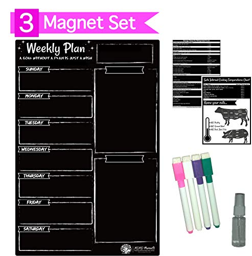 - XOXO Parents Magnetic Dry Erase Weekly Kitchen Menu Board for Fridge - Plan Meals, Diet, to-Do List, Fitness and More