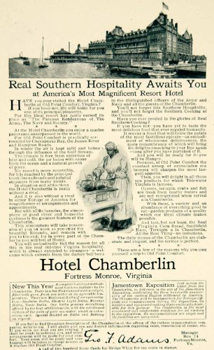 1906 Ad Hotel Chamberlain Fortress Monroe VA Resort Travel Tourism Lodging Motel - Original Print Ad from PeriodPaper LLC-Collectible Original Print Archive