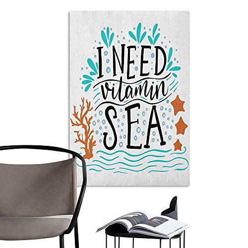 Jaydevn Wall Mural Wallpaper Stickers Sea I Need Vitamin Sea Inspirational Quote Hand Drawn with Coral Waves Starfishes Bubbles Multicolor 3D Bathroom Decal W16 x H20
