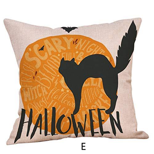 (Seaintheson Decorative Throw Pillow Covers, Cotton Linen Halloween Pumpkin Ghosts Cushion Covers Home Sofa Car Decorative 18 x 18)