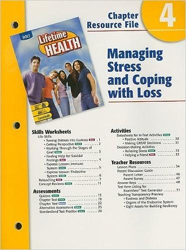 Holt Lifetime Health Chapter 4 Resource File Managing