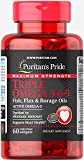 Puritan's Pride Maximum Strength Triple Omega 3-6-9 Fish, Flax & Borage Oils-60 Softgels For Sale