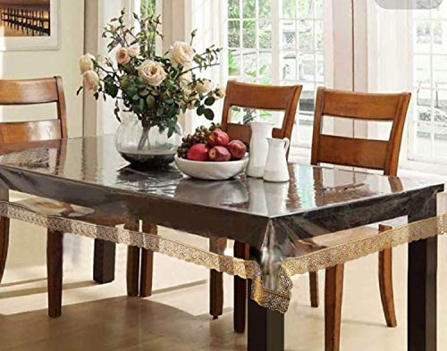 Kuber Industries PVC 6 Seater Transparent Dining Table Cover – Gold,CTCOMPST01 Price & Reviews