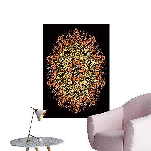 (SeptSonne Wall Stickers for Living Room stylize Sun Ornamental Roun lace on Black Vinyl Wall Stickers Print,32