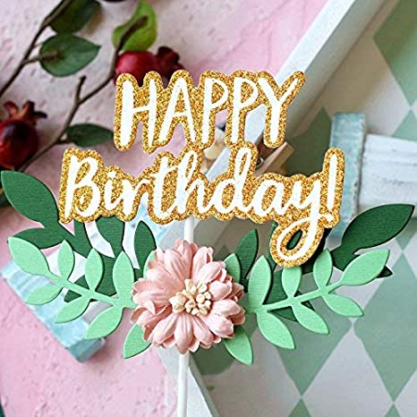 JoyGlobal Happy Birthday Cake Topper 1st First Cupcake Gold Glitter Letters With