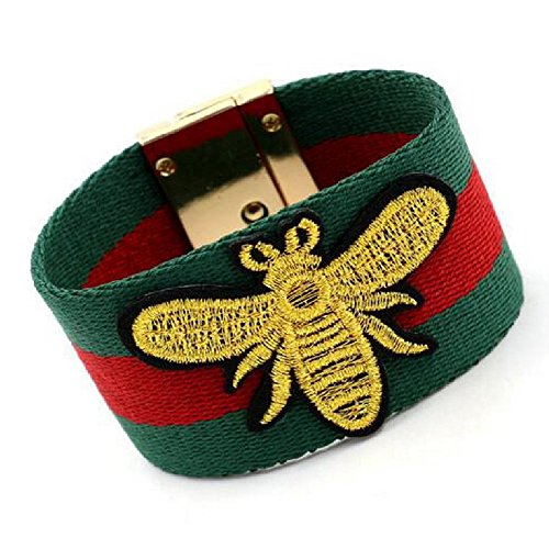 2018 New Women Cotton Cloth Fashion Embroidery Golden Bee Bracelet For Women Green Red (Green) (Lace Hampshire And New Leather)