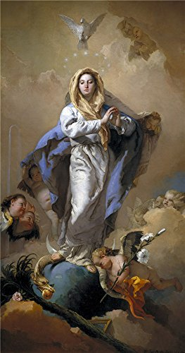 Oil Painting 'Tiepolo Giambattista The Immaculate Conception 1767 69' 18 x 34 (Series 2 Leg Magazine Base)