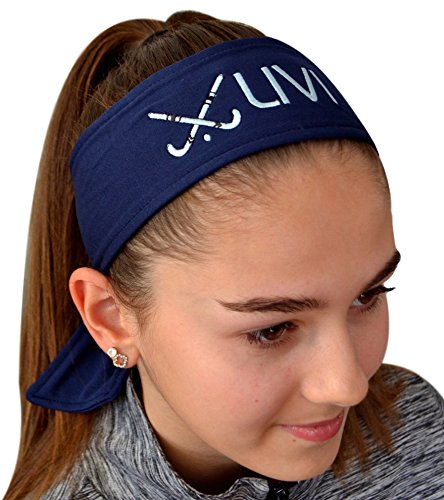 Funny Girl Designs Field Hockey Sticks Tie Back Moisture Wicking Headband Personalized with Embroidered Custom Name(Navy Blue TIE - Stick Hockey Design