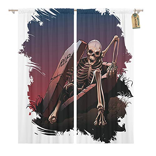 Emvency Window Curtains 2 Panels Rod Pocket Drapes Satin Polyester Blend Awake Skeleton from Coffin Body Bones Dark Living Bedroom Drapes Set 104 x 96 Inches -