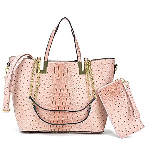 Women's Large Ostrich Tote Bag Fashion Top Handle Shoulder Bag Chain Strap Bag W/Matching Wallet (Ostrich-blush)