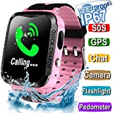 Kid Smart Watch Phone GPS Tracker - IP67 Waterproof Fitness Tracker with SIM SOS Anti-lost Camera Game Digital Wrist Smartwatch for Boys Girls Summer Swim Sport Outdoor Bracelet Watch