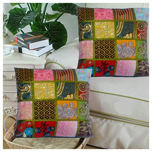 ANYA Hand Embroidery Sequin Patchwork Indian Sari Silk Pillow Cushion Cover