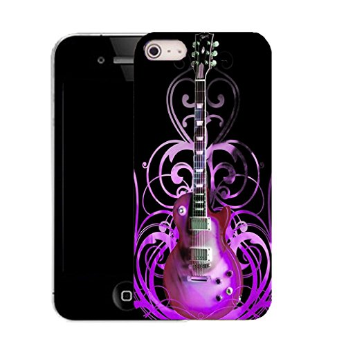 Mobile Case Mate IPhone 5 clip on Silicone Coque couverture case cover Pare-chocs + STYLET - purple guitar pattern (SILICON)