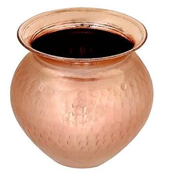 Handmade Indian Hindu Puja Lota Kalash Hammered Copper Vessel Home