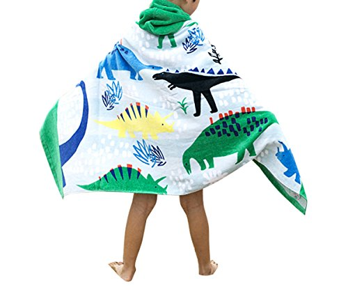 Comfysail Kids Hooded Beach Bath Towel 100% Cotton Super Soft Childrens Poncho Swimming Girls Boys (Dinosaurs)