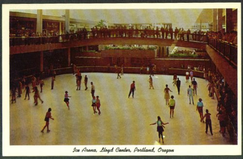 Ice Arena Lloyd Center Portland OR postcard - Center Or Lloyd