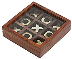 #1 Tic Tac Toe - 2016 YEAR END CLEARANCE SALE -SALE onSouvNear Tick Tack Toe - Wooden Family Board Game Metal Noughts & Crosses Storage Box with Glass Lid - Unique Table/Desk/Floor/Indoor Game from SouvNear