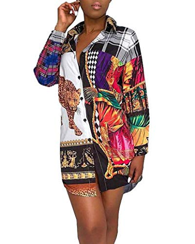 Remelon Womens Leopard Plaids Print Button Down Collar Long Shirt Dress Blouse Mini Dress Multi ()
