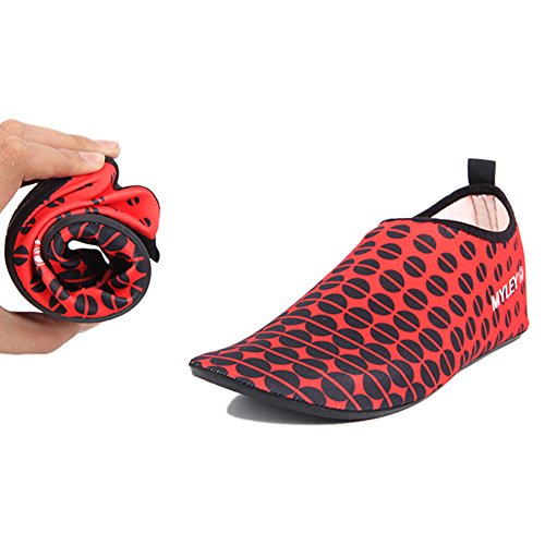 Barerun Barfuß Quick-Dry Frauen Männer Wasser Schuhe Haut Aqua Socken für Schwimmen Beach Pool Surf Yoga Sport Übung Punkt Red_