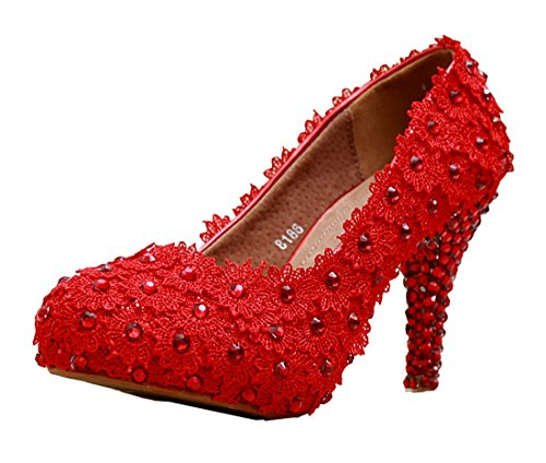 Slip Satin Handmade Pumps on Party Wedding Minitoo Prom Evening Red Shoes MZLL024 Heel 8cm Women's XqIfE