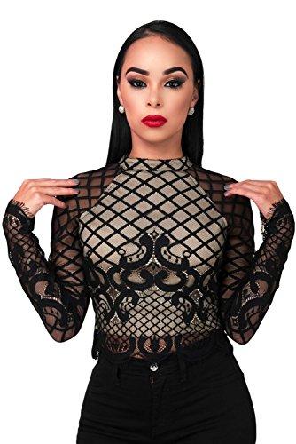 NEW Mesdames noir à manches longues en dentelle Club Wear Tops Casual Wear Vêtements Taille M UK 10EU 38