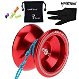 MAGICYOYO Unresponsive Yoyo T5 Overlord Aluminum Professional Yo-Yos Yoyo balls with 5 Strings Gloves with Yoyo Bag Red