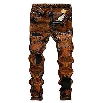 ZYUEER Pantalones Vaqueros Vintage Jeans Agujero De ...