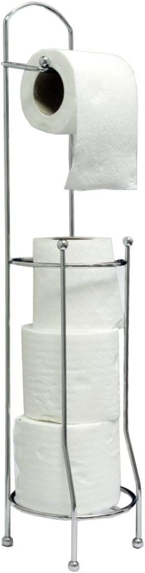 Chrome Toilet Roll Holder Stand (Round)