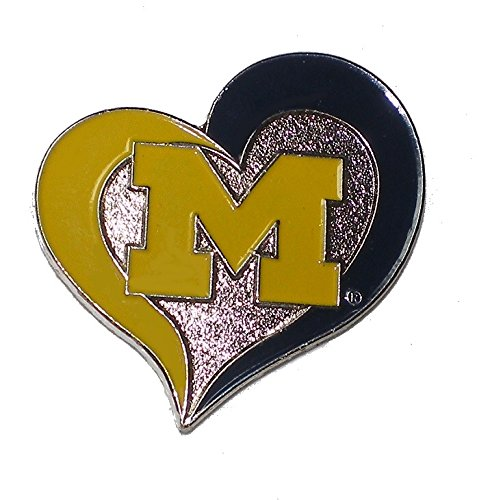 Michigan Wolverines lapel Pin Heart Shape with Team Logo NCAA (Michigan Heart)