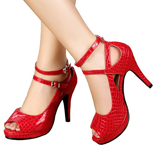 con tacón rojo Zapatos GetmorebeautyUpdate Red mujer Patent 7T4Bafqw