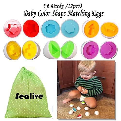 Sealive 6 Packs Easter Eggs,Smart Capsule Egg Kids Baby Color Shape Matching Blocks Educational Puzzles,For 1-15 Years Toddlers,Enhance Motor Skills Game,Egg Shape Sorter Preschool Toy for Boys Girls