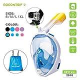 ROCONTRIP Snorkel Mask Full Face, Panoramic 180°View Design, Anti-Fogging Anti-Leak with Adjustable Head