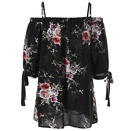 XL Polyester Camis Longues Grande pour Lenfesh en Manches Chemisier Hauts 5XL Taille Dcontract Floral Chic imprim Noir Femme pXZXw8qEx