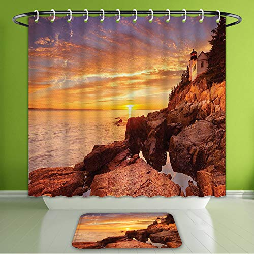 Waterproof Shower Curtain and Bath Rug Set National Parks Lighthouse On Stones Coastline Horizon Dramatic Island Ocean Har Bath Curtain and Doormat Suit for Bathroom Extra Long Size 72
