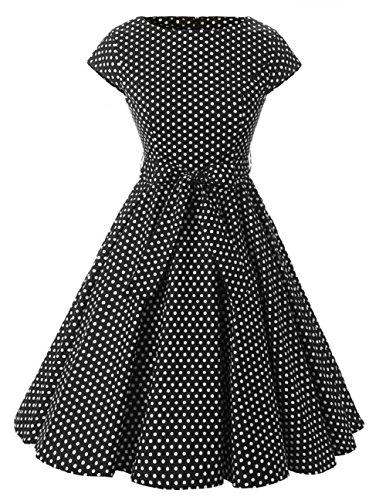 VKStarRobe Vintage 1950s Style Audrey Hepburn Robe Pois avec Ceinture Robe de Soire/Cocktail Rockabilly Swing Noir  Pois Petit