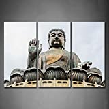 3 Panel Wall Art Big Buddha Bronze Statue Painting The Picture Print On Canvas Religion Pictures For Home Decor Decoration Gift piece (Stretched By Wooden Frame,Ready To Hang)