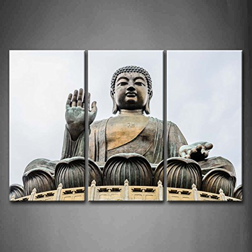 3 Panel Wall Art Big Buddha Bronze Statue Painting The Picture Print On Canvas Religion Pictures For Home Decor Decoration Gift piece (Stretched By Wooden Frame,Ready To Hang) by Firstwallart