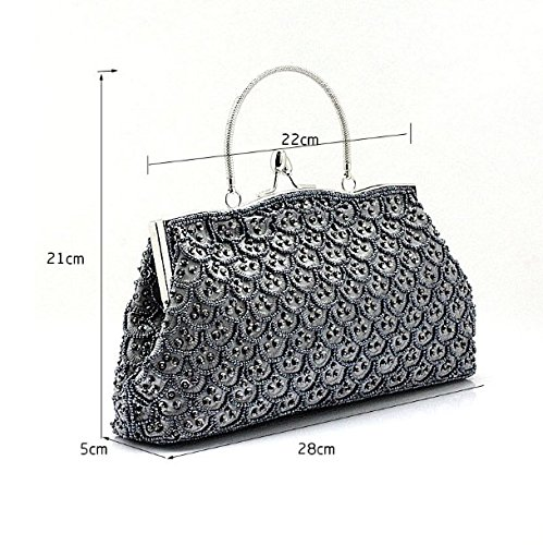 Main Sac Raffiné Main Petit Banquet De Package Bag Perles La À Contre Partie Package Manuellement Gray Sac Ladies Style KLXEB Broderie À Package fExwYadEq