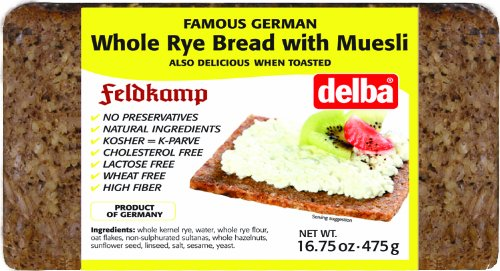 Delba Famous German Whole Rye Bread with Muesli, 16.75 Ounce (Pack of 12) by Delba