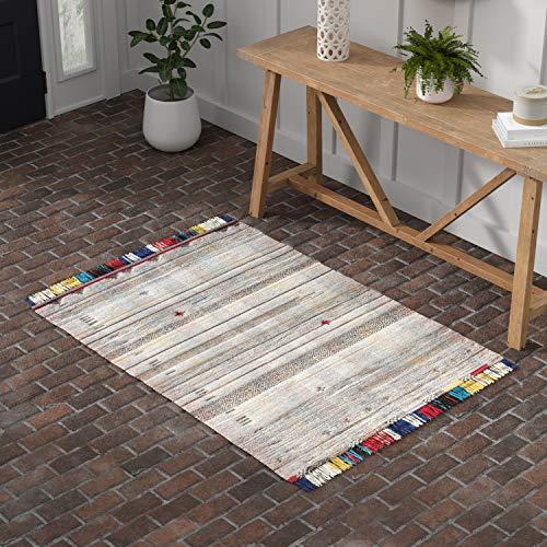 Stone Beam Contemporary Boho Colorful Fringe Wool Area Rug, 4 x 6 Foot, Tan Multi